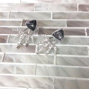 Lotus Flower Jacket & Stud Earrings Silver/Black